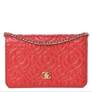 {CHANEL} RARE Red Caviar Camellia WOC Bag